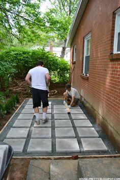 Super How To Make A Pea Gravel Patio Landscape Design Ideas Diy Patio, Backyard Patio, Backyard Landscaping, Landscaping Ideas, Pea Gravel Patio, Pavers Patio, Concrete Pavers, Unilock Pavers, Paver Stone Patio