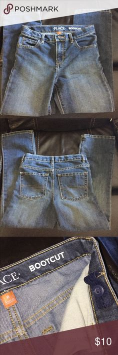 "Big Boys Bootcut Jeans *Children's Place"" Children's Place Boys, bootcut jeans Size 8 Color - Dustbowl  Perfect condition, 6 year old son has worn them once to school last week, this week he's in a size 10 😩😂  66% cotton 34% polyester  5 pocket bootcut jean with hand sanded finish for lived in look. Adjustable button tabs in waistband  Zip fly with button closure Children's Place Jeans Boot Cut"