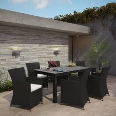 Modway Junction 7 Piece Outdoor Patio Dining Set in Brown White