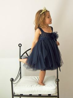 Navy Blue  Tulle Dress with Empire Waist and Stretch Crochet Top.Tulle dress  for girls with lacy crochet bodice.