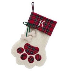 Plaid Cuff Paw Dog Bone Personalized Stocking - Free Shipping On Orders Over $45 - Overstock.com - 19399029 - Mobile