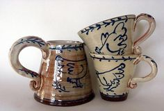Ceramics by Angie Mitchell at Studiopottery.co.uk - 2011. Jug and Cups
