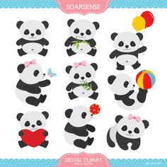 Baby Panda Clipart by LittleMoss on Etsy