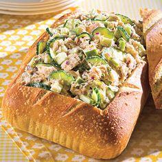Tuna Salad With Lemon Aioli! This easy, healthy seafood recipe combines cucumber, onion, a Granny Smith apple and lemon aioli to take canned tuna to another level Tuna Recipes, Apple Recipes, Seafood Recipes, Cooking Recipes, Healthy Recipes, Healthy Eats, Salad Recipes, Recipies, Chicken Salad Ingredients