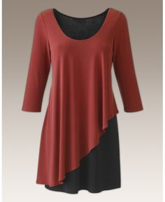 """Joanna Hope"" Joanna Hope Color Block Layered Top - Length from 31in at Simply Be"