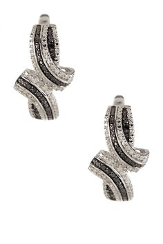 Pave Black & White Diamond Bypass Swirl Earrings - 0.35 ctw by Savvy Cie on @HauteLook