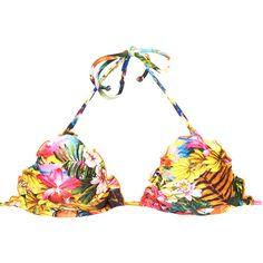 Rio De Sol Triangle Top - Soutien Picui (2.200 RUB) ❤ liked on Polyvore featuring swimwear, bikinis, bikini tops, beige, triangle swim wear, multicolor bikini, triangle bikini top, colorful swimwear and triangle bikini