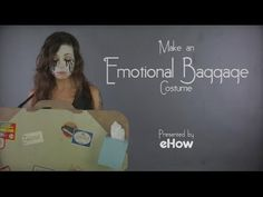 This DIY emotional baggage costume from eHow takes literal costume ideas to a… Easy Adult Halloween Costumes, Fall Halloween, Happy Halloween, Scary Decorations, Pumpkin Costume, Creative Costumes, Felt Hearts, Holiday Time, Fun Activities