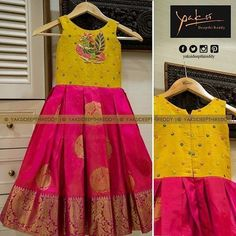 Kanchipattu gown with raw silk body embellished with peacock cut beads motif.Like this single dress with same combination.Image may contain: people standing Kids Party Wear Dresses, Kids Dress Wear, Kids Gown, Little Girl Dresses, Girls Dresses, Baby Dresses, Kids Wear, Children Wear, Boy Dress