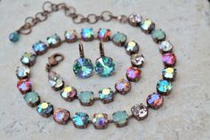 NEW!!  Swarovski Crystal Jewelry- Iridescent Colors in Copper. on Etsy, $19.71 AUD