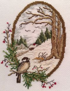 """Detailed Cross Stitch Bird & Nature Artwork ~ Beautiful ~ Double Matted ~ 8"""" x 10"""" ~ Ready to Frame!"""