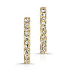 "14KT Yellow Gold Diamond Short Bar Earrings <br> Measures 1/2"" in length"