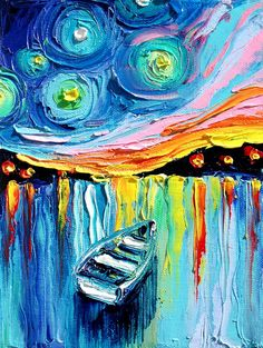 Midnight Harbor XXIX  18x24 abstract boat by SagittariusGallery, $55.00