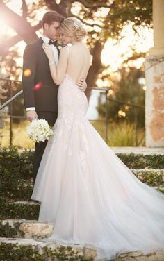 D2147 Fit and flare wedding dress with low-cut back by Essense of Australia- Available at Uptown Bridal & Boutique- Chandler, AZ- www.uptownbrides.com Maybe something for https://Addgeeks.com ?