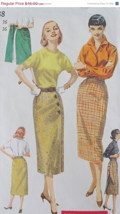 20 Off SALE 1950s Slim Wiggle Skirt / Vintage by FoxyBritVintage, $12.80