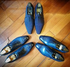 Gorgeous shoes by G&G. Blue is the way to go. Fresh Shoes, Hot Shoes, Men S Shoes, Mens Blue Dress Shoes, Blue Shoes, Derby, Socks And Sandals, Mens Fashion Shoes, Men's Fashion
