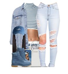 """""""Got The Blues.."""" by nasiaamiraaa ❤ liked on Polyvore featuring Maison Margiela, Alessandra Rich, Michael Kors, Pull&Bear, Harding-Lane, Timberland and NanaOutfits"""