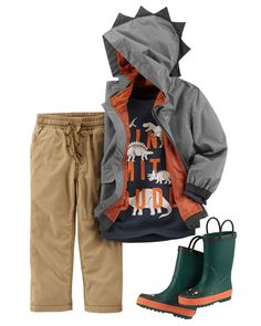 In a long-sleeve, graphic tee and jersey-lined utility pants, he is ready for all-day play. Add a jersey-lined raincoat for rainy day play!