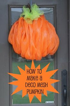 Another tutorial on how to make the deco mesh pumpkin wreath from Miss Kopy Kat. Miss Kopy Kat: How To Make A Deco Mesh Pumpkinmesh pumpkin wreath on a wire wreath form - shows placement of pipecleaners and everything - Miss Kopy Kat by elsaMiss Kopy Deco Mesh Crafts, Wreath Crafts, Diy Wreath, Wreath Ideas, Wreath Making, Tulle Wreath, Mesh Garland, Making Bows, Deco Mesh Pumpkin