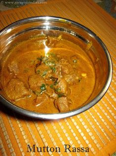 Recepty z Indie: Mutton Rassa Indian Food Recipes, Healthy Recipes, Ethnic Recipes, India Food, Curry, Good Food, Coconut, Vietnam, Gastronomia