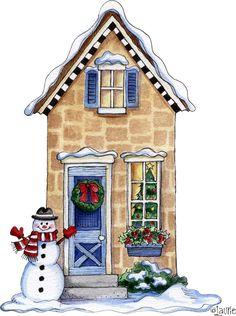 Christmas House Drawings Printable-Stock and drawings to print Christmas Scenes, Christmas Villages, All Things Christmas, Winter Christmas, Christmas Home, Vintage Christmas, Christmas Crafts, Christmas Decorations, Xmas