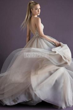 V-neck Tulle Ball Gown Lace Beading Evening Dress