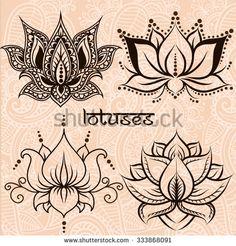 Set of illustration decorative lotuses - stock vector