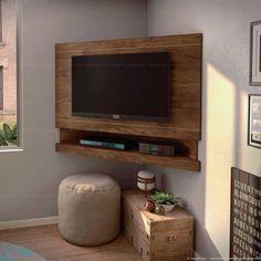 Corner Tv Mount, Corner Tv Stands, Corner Tv Stand Ideas, Tv Mounted In Corner, Tv In Corner, Tv Lateral, Deco Tv, Tv Wanddekor, Home Interior Design