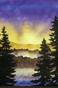 Misty Morning Sunrise  Original Silk Painting on by TheWavingSky, $125.00