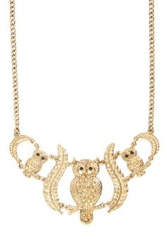Hoot Has Your Heart? Necklace. Make a cute and stylish statement by accessorizing with this ModCloth-exclusive, owl-themed necklace! #goldNaN