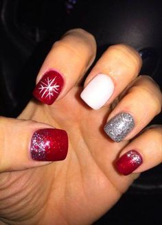 Nails 55+ Trendy Nails Holiday Acrylic Red #CandyCaneNails #candycanenails Candy Cane Nails, Elizabeth Johnson, Holiday Nails, Red Nails, Silver Glitter, Acrylic Nails, Red Toenails, Red Nail, Acrylics