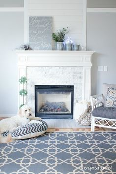 Gorgeous color combo @The Inspired Room 's mantel makeover. The planked wall is my favorite :).