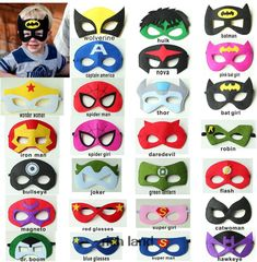 superhero masks with a kid wearing one Avengers Birthday, Superhero Birthday Party, Superhero Party Favors, Halloween Party Kostüm, Halloween Costumes, Superman And Spiderman, Superman Mask, Hulk Mask, Batman Party