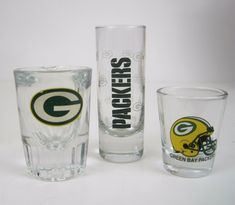 626ee404ad02 Details about Shot Glass Lot Green Bay Packers 3 Different Sizes One Large  Libby Lot of 3