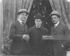 Francis X. Bushman, Charlie Chaplin, and Broncho Billy Anderson, soon after Chaplin joined Essanay Studios, Chicago, Illinois, 1914.