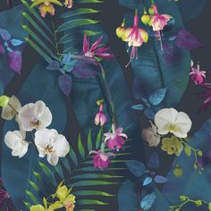Pindorama is a beautiful tropical jungle themed floral design with high gloss highlights that add a shiny and beautiful texture to the wallpaper. Plum Wallpaper, Palm Leaf Wallpaper, Textured Wallpaper, Flower Wallpaper, Wallpaper Roll, Bathroom Wallpaper, Teal Tropical Wallpaper, Hallway Wallpaper, Flamingo Wallpaper