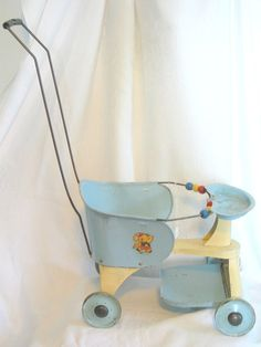"""Turner Metal Doll Stroller from the 1950's.  Cousins (Mountford) had a regular sized one called a """"Taylor Tot""""."""