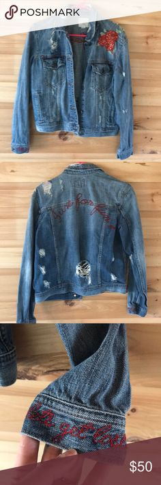 American eagle outfitters Denim jacket Cute distressed denim jacket. floral detail on front, just for fun stitching on back, let's get lost stitching on cuff. American Eagle Outfitters Jackets & Coats Jean Jackets