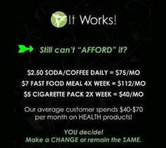 Visit amberannwraps.myitworks.com For more information or to order this amazing it works product!! If you want you can even sign up on my webpage to become a distributor and make YOUR own $ money $!!!! It's changing lives!!