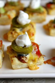 Puff Pastry Nachos - A GREAT PARTY APPETIZER! This can be made ahead of time and baked when the party starts.