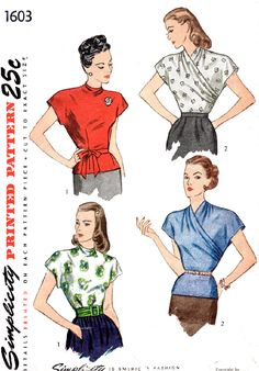 1940s wrap blouse vintage sewing pattern Simplicity 1603