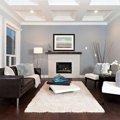 Another example of a grey room with a brown couch that I like. the white accents (like the trim, chairs and rug) make the room feel bright. But, I'd swap out the white rug because it's terribly impractical for a family with small kids and a dog.
