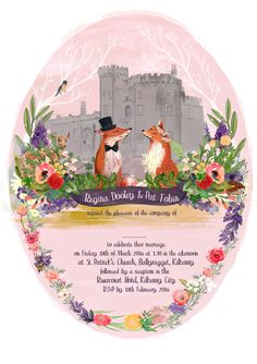 Oval shaped wedding invitation. #wes anderson #wedding #invitation #hand painted #floral #foxes