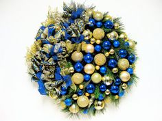 """SOLD! Christmas Wreath Sapphire Blue and Gold  Holiday Wreath (approx 27"""" X 7""""deep)"""