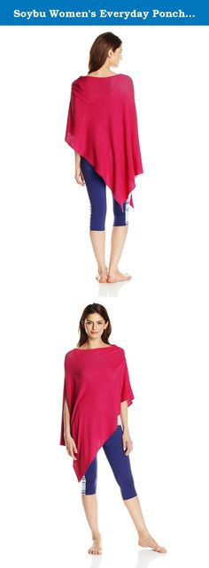 Soybu Women's Everyday Poncho, Pink Goji, One Size. This Poncho fits its name-ann everyday piece for layering either to the gym or to the office, our cozy Poncho made of our softest featherweight yarn comes in one size fits most and can be worn a variety of ways.