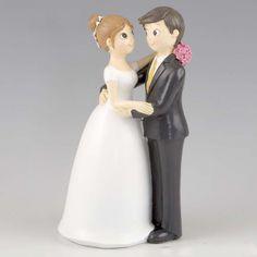 Muñecos para la tarta de boda de novios bailando el vals y mirándose sonriente