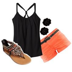 Black and Coral. Love the outfit with the sandals!!