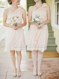 Buy Simple-dress Elegant One-shoulder Knee-length Chiffon Bridesmaid Dresses/Wedding Party Dresses CHBD-70792 Bridesmaid Dresses under US$ 86.99 only in SimpleDress.