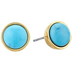 Kate Spade New York Forever Gems Small Studs Earrings (Turquoise 1)... (2.280 RUB) ❤ liked on Polyvore featuring jewelry, earrings, post back earrings, turquoise stud earrings, gemstone stud earrings, turquoise earrings and stud earrings