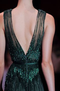Elie Saab Haute Couture Fall 2013. We love this sophisticated, glittering forest green hue!